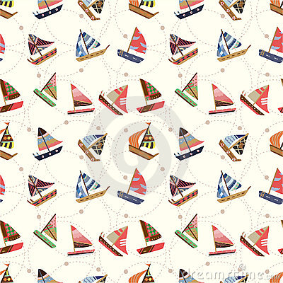 Free Seamless Sailboat Pattern Royalty Free Stock Image - 17849386