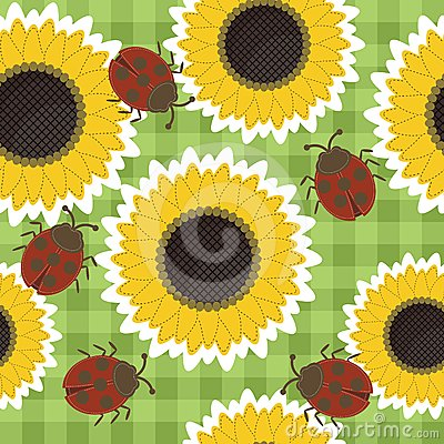 seamless scrapbook background with sunflowers