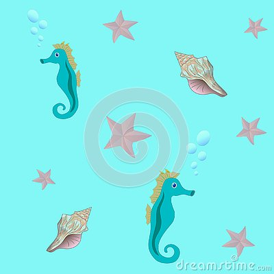 Seamless sea pattern with seahorse, starfish, and seashell Stock Photo
