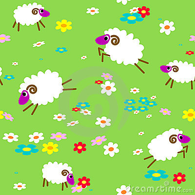 Seamless with sheep in meadow
