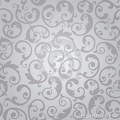 Free Seamless Silver Swirls Floral Wallpaper Pattern Stock Photo - 55063530