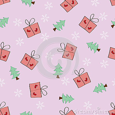 Seamless Snowflake Gift and Tree pattern pink back