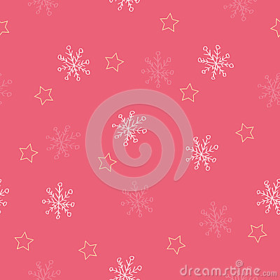 Seamless snowflake and star pattern red background