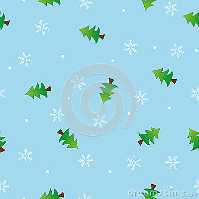 Seamless snowflake and tree pattern blue backgroun