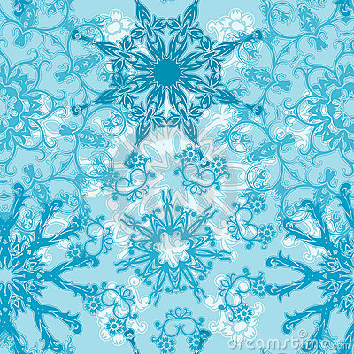 Seamless snowflakes pattern,
