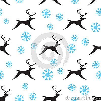 Seamless Snowy Reindeers