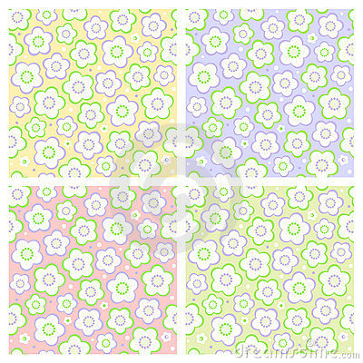 Seamless spring floral patterns