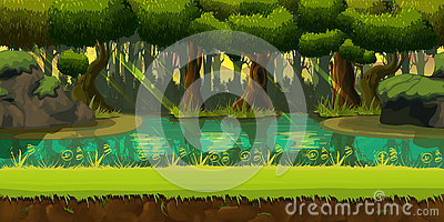 Seamless spring forest landscape, never ending vector nature background with separated layers for game design Vector Illustration