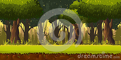 Seamless spring forest landscape, never ending vector nature background with separated layers for game design Stock Photo