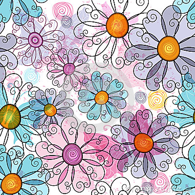 Free Seamless Spring Grunge Floral Pattern Royalty Free Stock Images - 33323839