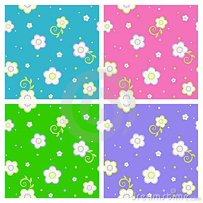 Seamless spring or summer floral patterns