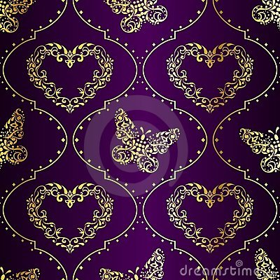 Free Seamless Springtime Background In Gold And Purple Stock Images - 17835944