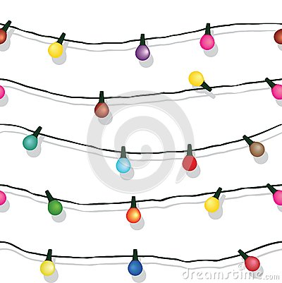 Free Seamless String Of Christmas Lights Isolated On White Stock Photography - 32816712