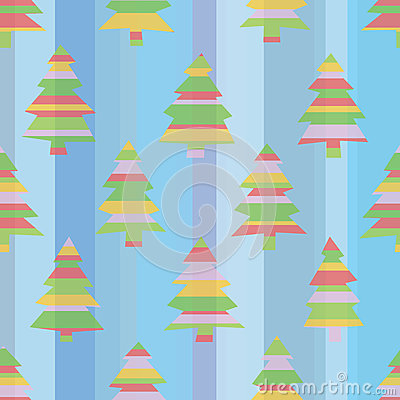 Seamless Striped Christmas Trees