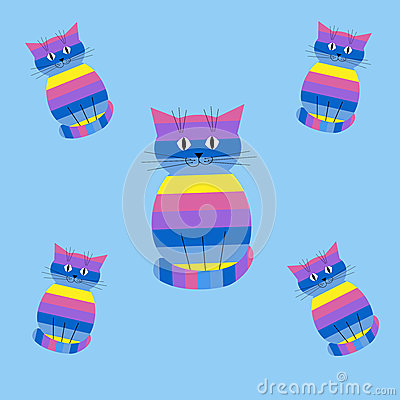 Seamless striped pattern with cats
