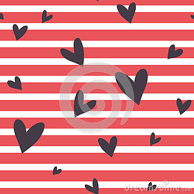 Free Seamless  Striped Pattern With Hearts. Stock Photos - 54905373