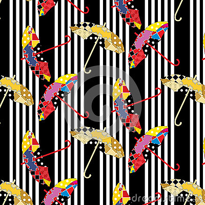 Seamless stripped black and white pattern with colorful patchwork umbrellas Vector Illustration