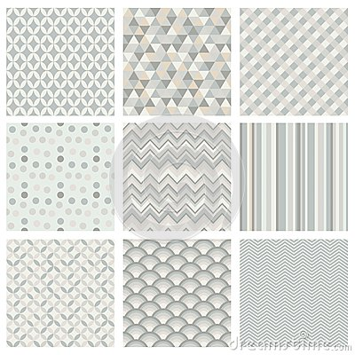 Free Seamless Subtle Geometric Hipster Background Set. Royalty Free Stock Photos - 36758278