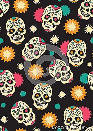 Seamless with sugar skulls Vector Illustration