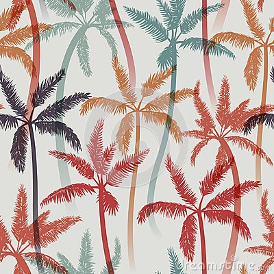 Free Seamless Summer Pattern With Palms Royalty Free Stock Photos - 125136608
