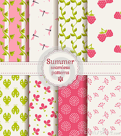 Free Seamless Summer Patterns. Vector Set. Royalty Free Stock Photo - 41138275