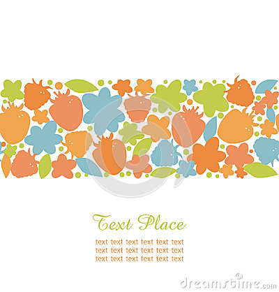 Seamless summer stripe with berries, flowers and leafs  Ornate design elements for cute cards, banners, borders