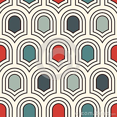 Free Seamless Surface Pattern With Repeated Ancient Shields. Geometric Figures Background. Simple Ornament With Scale Motifs. Stock Images - 107953874