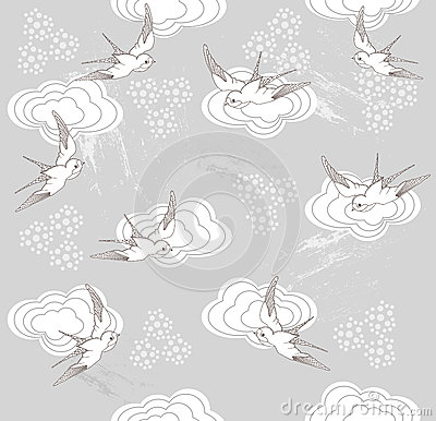 Seamless swallow and cloud pattern