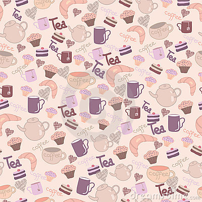 Seamless sweet pattern with tea & coffee