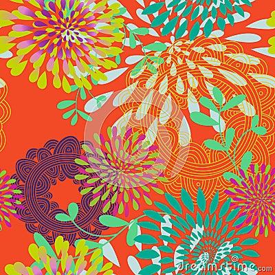Free Seamless Swirls And Circles Pattern Royalty Free Stock Photography - 21008887