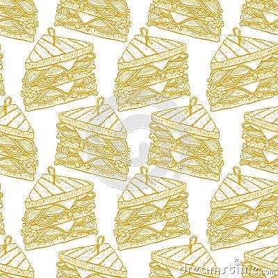 Seamless tasty sandwiches Vector Illustration