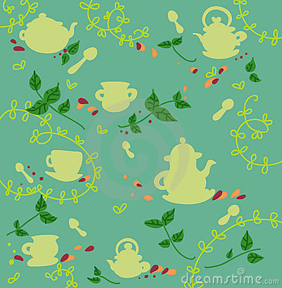 Seamless tea and teapots pattern