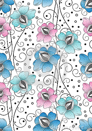 Seamless textile flowers background