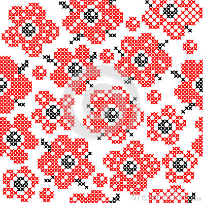 Seamless Texture With Abstract Embroidered Red Flowers