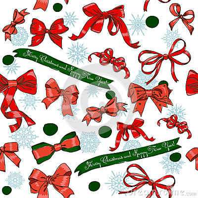 Seamless texture with Chrestmas red bows