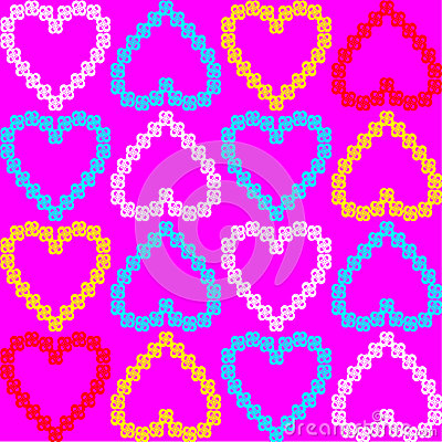 Seamless texture of colorful hearts. vector patter
