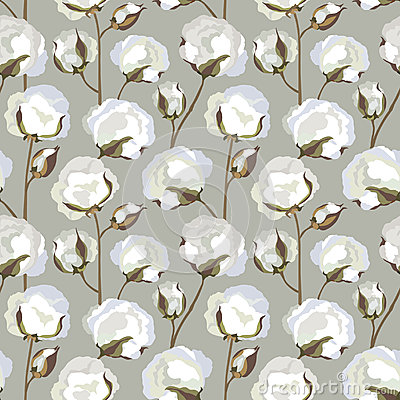 Seamless texture with Cotton flower leaves
