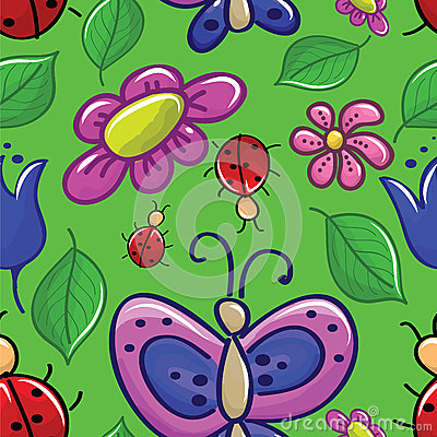 Seamless texture with flowers and insects