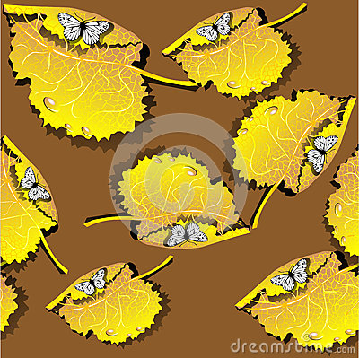 Seamless texture with leaves and butterflies