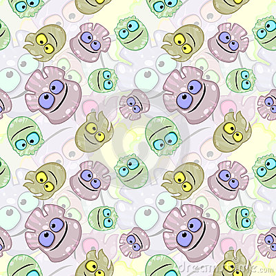 Seamless texture with little monsters or germs