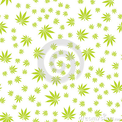 Seamless Texture Marijuana Five Vector Illustration