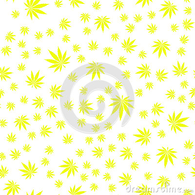 Seamless Texture Marijuana Four Vector Illustration
