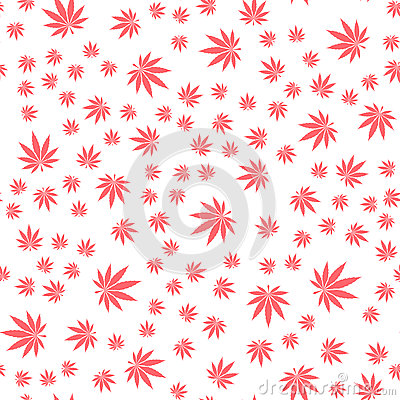 Seamless Texture Marijuana Three Vector Illustration