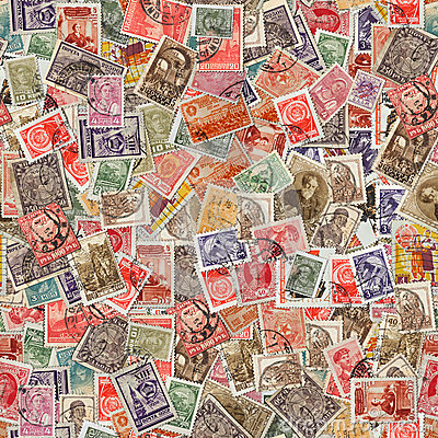 Free Seamless Texture Of Postage Stamps. Stock Photos - 33675153