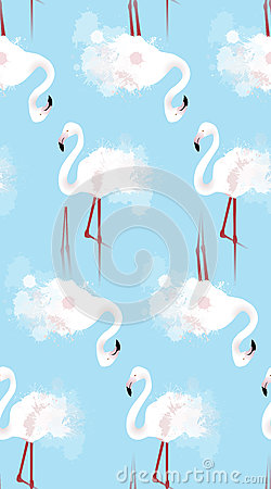 Free Seamless Texture Of White Flamingos With Watercolor Splashes Stock Photography - 84852792