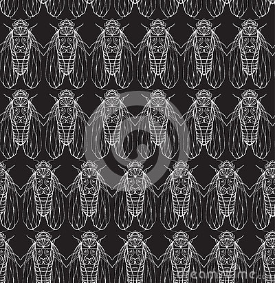 Free Seamless Texture On Blackboard With Cicadas. Stock Images - 72973364