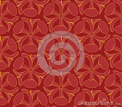 Seamless texture with outlined decorative flowers