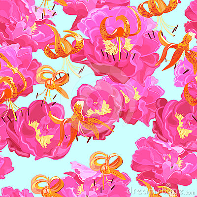 Seamless texture of peonies and lilies
