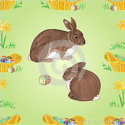 Free Seamless Texture Rabbits  And Easter Eggs Vector Royalty Free Stock Photo - 50616515