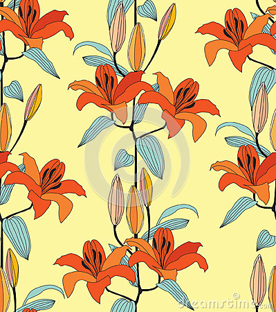 Seamless texture with red  and orange flower